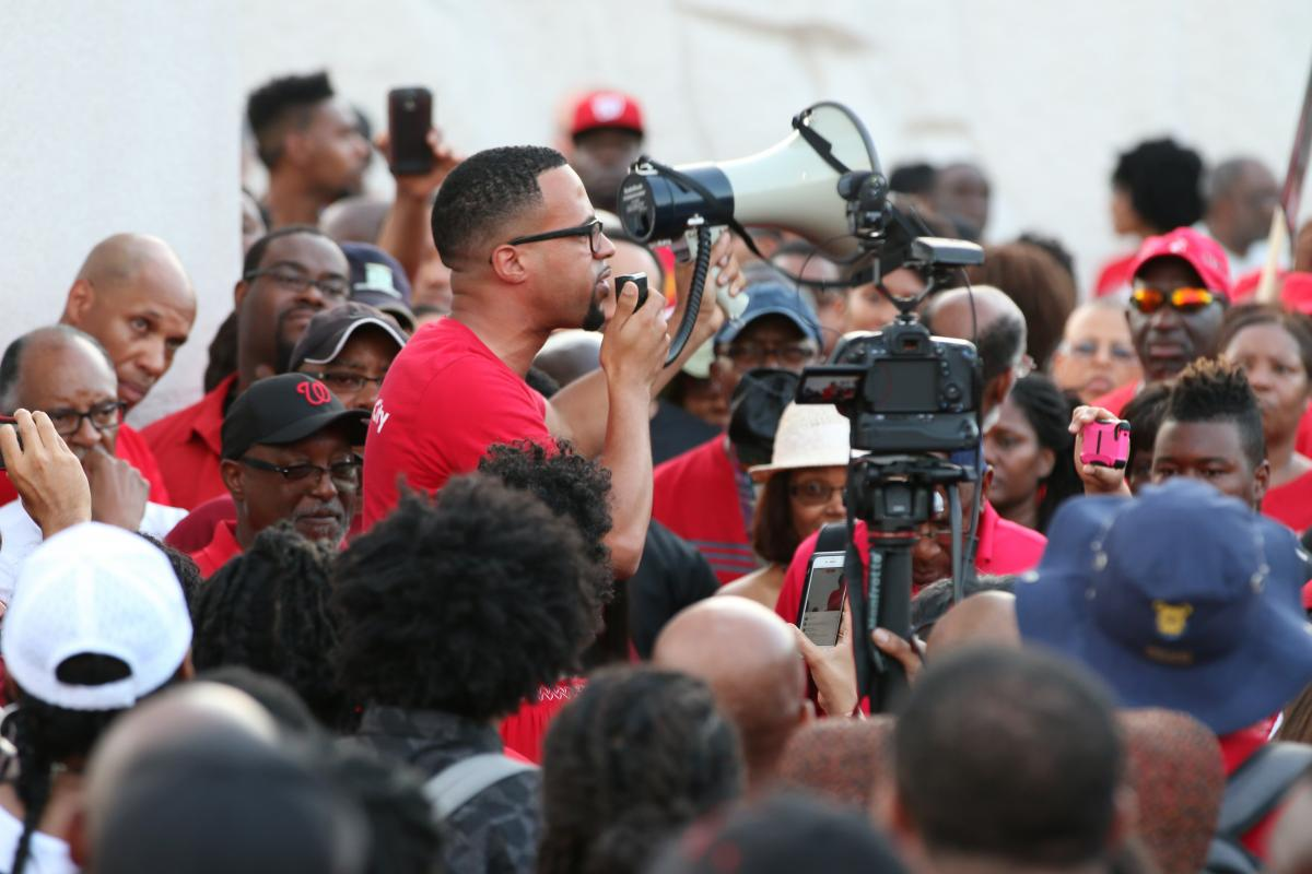 Miracle Temple Pastor David Franklin speaks at MLK Jr Memorial. Photo by David Turner