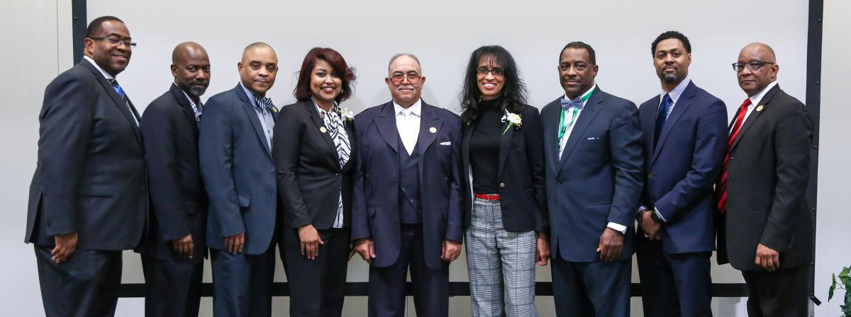 Pete Palmer (VP for Admin) Patrick Graham (Youth); Gene Donaldson (Ministerial); LaTasha Hewitt (Communication); Henry J. Fordham, III (President) Leah Scott (Health); Robert Smith (Adventist Community Services); John Alberty (Education Superintendent); Lawrance Martin (VP for Finance)