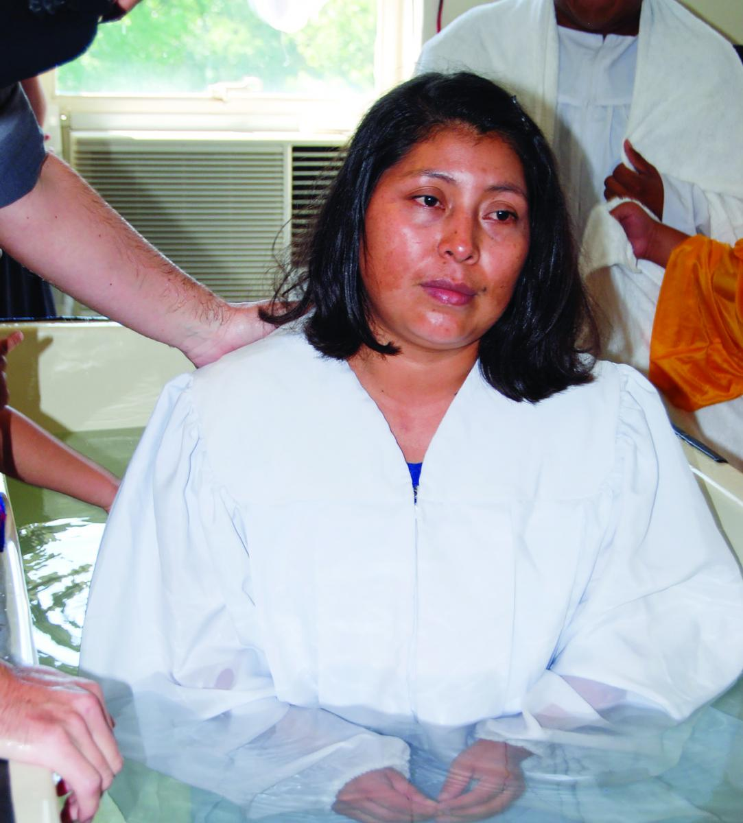 Lidia Perez prepares for baptism.