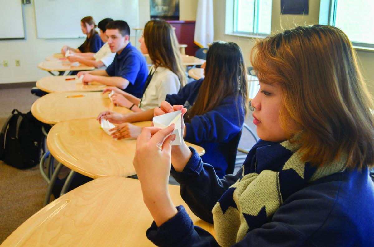 Sophomore students at Spencerville Adventist Academy participate in a religion class. Photo by Kelly Butler Coe.