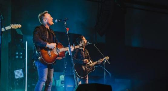 Chris Tomlin performs on-stage