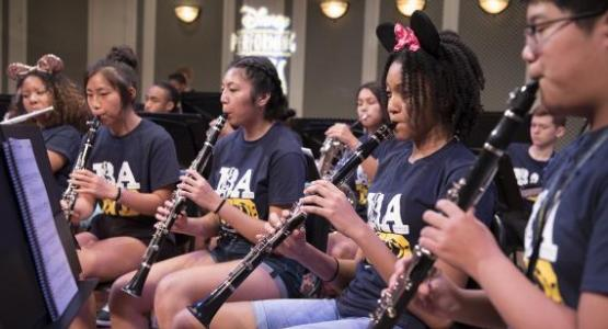 Jehlyssa Kennedy ('20), Ella Kim ('22), Sophia Rivera ('21), Alyssa Caruthers ('22) and Caleb Chung ('23) improve their musical skills on their instruments.
