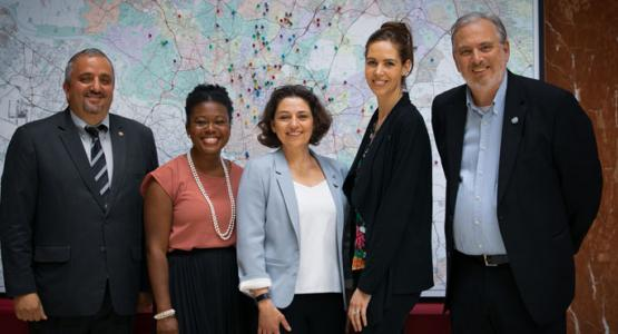 Imad Madanat, vice president of program for ADRA International, State assemblywoman Jheanelle Wilkins, Takoma Park mayor Kate Stewart, program coordinator and ADRA's emergency response program manager Elizabeth Tomenko, and James Standish, community representative.