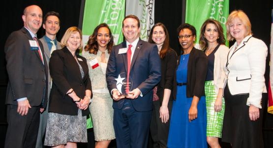 """Adventist HealthCare leaders and Rebuilding Together Montgomery County officials celebrate Adventist HealthCare receiving Rebuilding Together Montgomery County's Innovation Partnership Award at the 25th Anniversary Breakfast on March 24."""""""