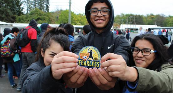 "Pathfinders from Potomac's Jovens Para Cristo Pathfinder Club by Hyattsville, Md., display the official ""Fearless"" patch."