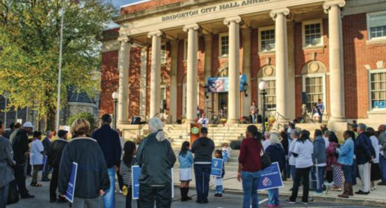 """Close to 200 community members gather in front of Bridgeton City Hall for the first annual """"Hate Has No Home Here."""" Image by Michael Schuelke"""