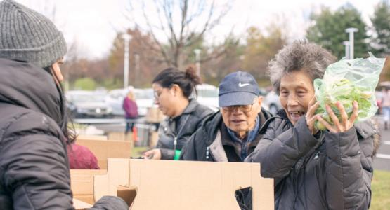 On Sunday, Nov. 19, 2017, Columbia, Maryland, residents pick up fresh produce at the North American Division of the Seventh-day Adventist Church's first Thanksgiving Produce Giveaway and Wellness Screening.
