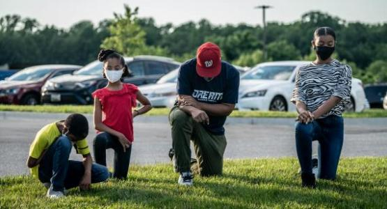 Families gathered during the Community Prayer Vigil at Spencerville Adventist Academy | Photo by Dan Weber/NAD