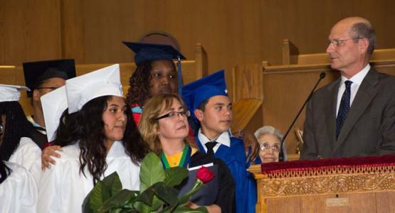 Ted N. C. Wilson speaks to John Nevins Andrews School graduates, staff and graduation guests.