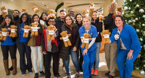 1.WGTS staffers & nurses prepare to pass out WGTS bears.