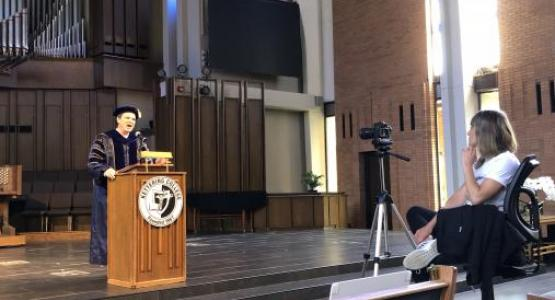 Kettering College hosted a virtual commencement ceremony for their spring graduates that included pre-recorded speeches, slides with graduates' names and degrees, as well as an interactive chat feature during the ceremony on YouTube.