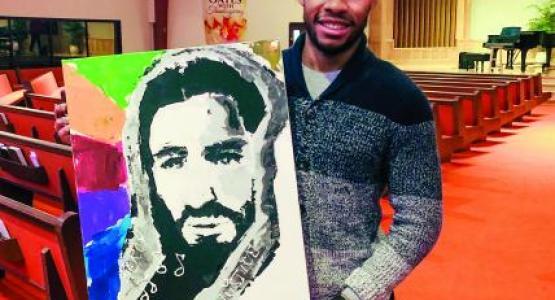Jyremy Reid displays his art.