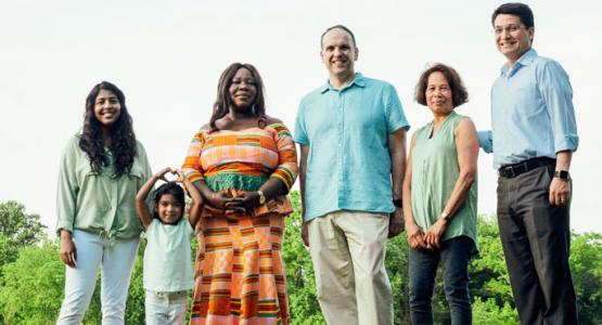 Members from Chesapeake Conference's Atholton church—Sarah and Anna Singalla, Janet Keng Asare, Pastor Shawn Paris, Jasmin Elliott and Jair Parada—were photographed by Brian Patrick Tagalog in Columbia, Md.
