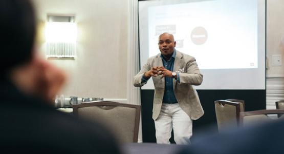 Pastor Marquis Johns presents at the Columbia Union Young Adult Summit. | Photo by Brian Tagalog