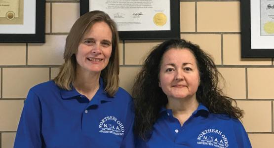 Principal Leona Bange, teacher Jeanne Sinka and their students continue to experience answers to prayer about their school, Northern Ohio Adventist Academy.Photo by Eduardo Gonzalez