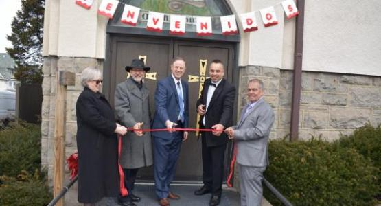 Recently Gary Gibbs, Pennsylvania Conference president, and Will Peterson, vice president for administration, joined Pastor Fernando Rocha and more than 90 people who gathered to celebrate the dedication of the group's new facility in Scranton.