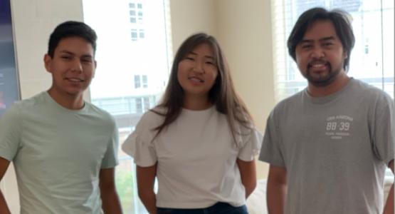 Class of 2020 graduates Gabriel Orellana, Urnaa Uuaganbayar and Bradley Banuag providentially reunited at Highland View Academy after many years.