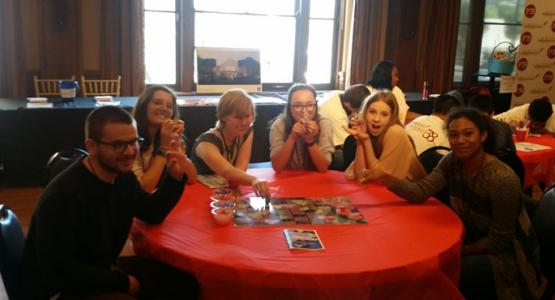 Shakespeare class members Mitchell Jackson, Quincy Collins, Emily Bennett, Sidney Collins, Zoe Jacobs and Cierra Stewart play the board game they created for PROJECT38, the Cincinnati Shakespeare Company's educational program.