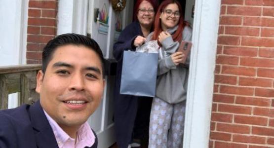 Braulio Jimenez drops off Bible study guides.