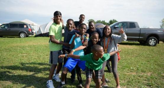 Pathfinders from Pennsylvania Conference's Bethlehem Club enjoy time together at the 2019 International Pathfinder Camporee   Photo by Sonja Hults Photography