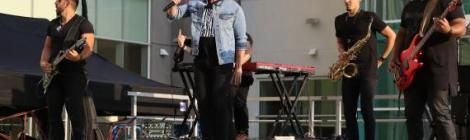Danny Gokey gets airborne during his WGTS 91.9 Summer Concert Series Show.