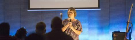 Kara Castillo, Sligo church member, shares her story with the Reset crowd.