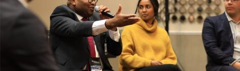 Philip Baptise, Ranella Kaligithi   and Teddy Flo participate in a panel of young adult professionals.