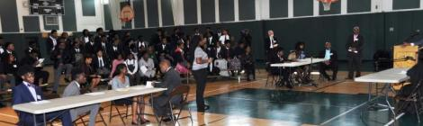 "The Pine Forge Academy entire student boy was part of a ""courtroom"" for a mock trial held in the gymnasium."