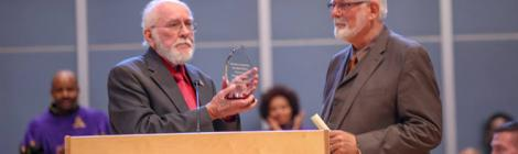 Erwin Mack present the Caring Heart Award to Ken Flemmer