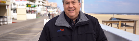 WGTS general manager & president Kevin Kruger announces the new station's expansion from the Ocean City boardwalk.