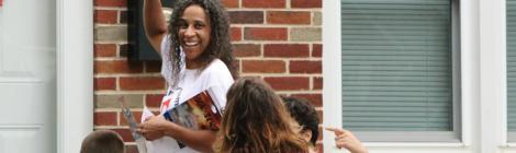 Members of the Chestnut Hill church in Philadelphia, knock on a door in York as part of the Faith for Family initiative this fall.