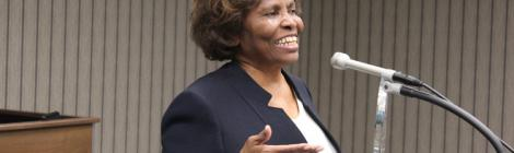 Minnie McNeil accepts a Notable Person of Honor award in 2016.