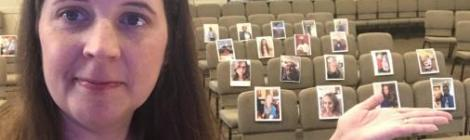 Pastor Heather Crews preached to a digital congregation last Sabbath. Members and friends from afar sent in their photographs to fill the seats.