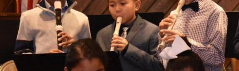 Lake Nelson Adventist Academy middle-schoolers whistle away on their recorders.