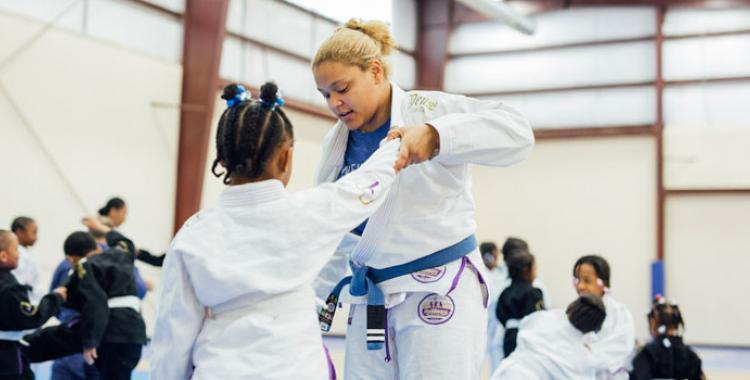 Photo of Kayla Dehm during a jiu-jitsu class session. by Brian Tagalog