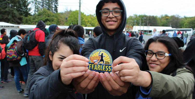 """Pathfinders from Potomac's Jovens Para Cristo Pathfinder Club by Hyattsville, Md., display the official """"Fearless"""" patch."""