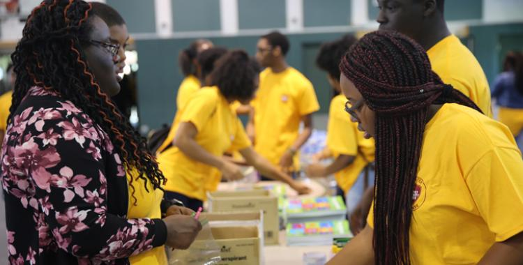 Pine Forge Academy students prepare personal care kits for those impacted by Hurricane Harvey. Photo by LaTasha Hewitt