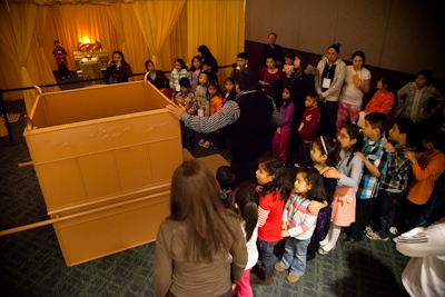 Attendees see replicas of the biblical sanctuary furniture up close