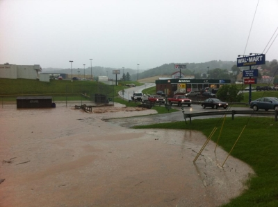 Flooding in the Spencer, W.Va., damaged roadways and homes.