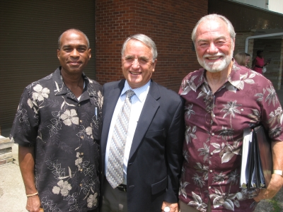 Terry Butler, DrPH, is flanked by two AHS-2 participants at the Ohio Conference Camp Meeting.
