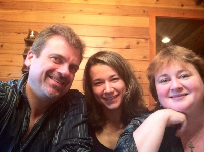 Konrad is pictured with daughter, Marina, and Dawn, his wife of 18 years.