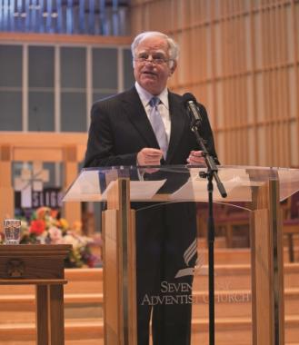 Walter Carson speaking at a Religious Liberty day at Sligo Church in Takoma Park, Md.